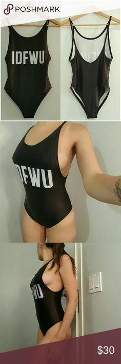 """NEW IDFWU One Piece Bodysuit Swimsuit """"IDFWU"""" one piece low-back swimsuit or bodysuit. Fits true to size. 88% Polyester, 12% Spandex. Not see thru, however no extra lining. Super flattering with some sexy side boob showing. I am 110 lbs, 34B/32C, 36"""" hip and I wear a size small for reference. Salt Beach Swim One Pieces"""