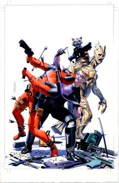 #Deadpool #Fan #Art. (Deadpool & The Guardian's) By: Mike Mayhew. (THE * 3 * STÅR * ÅWARD OF: AW YEAH, IT'S MAJOR ÅWESOMENESS!!!™) [THANK U 4 PINNING!!!<·><]<©>ÅÅÅ+(OB4E)  https://s-media-cache-ak0.pinimg.com/474x/d3/fd/7e/d3fd7e3a4b52d021efb80e7ccad81fc6.jpg
