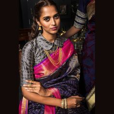 Peter pan collar - Checked peter pan blouse design paired with a silk sari. #indianweddings #winterweddings