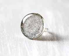 Silver glitter Ring - Metallic Shimmer.