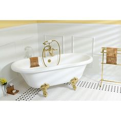 Fashion Plumbing - PVT7DS672924H-7D-PKG Polished Brass series 67 x 29 inch double ended Acrylic Clawfoot tub value packs, $1,349.00 [5% Discount w/ Free Shipping Included] (http://www.fashionplumbing.com/princeton-brass-pvt7ds672924h-7d-pkg-series-67-x-29-inch-double-ended-acrylic-clawfoot-tub-value-packs/)