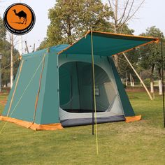 127.80$  Buy now - http://alihy9.worldwells.pw/go.php?t=32564250266 - Camel 4-6 person high quality automatic quick opening waterproof sunscreen double layer camping tent 127.80$