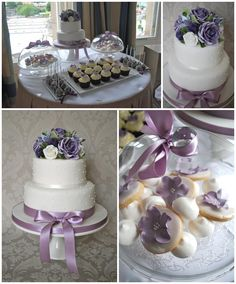 Lilac wedding cake and dessert table