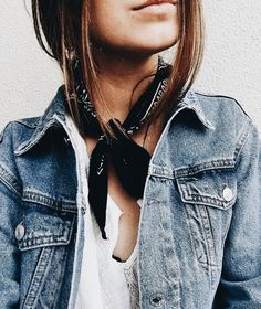 Denim jacket with white top and cute scarf.