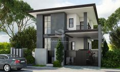 Dammam: A Minimalist House Design - Philippines Realty Projects House Outside Design, House Front Design, Small House Design, Two Story House Design, 2 Storey House Design, Style At Home, Modern House Philippines, Plan Studio, Two Storey House Plans