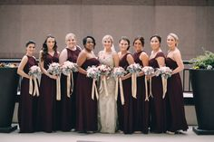 Champagne wedding dress - Bill levkoff wine bridesmaids