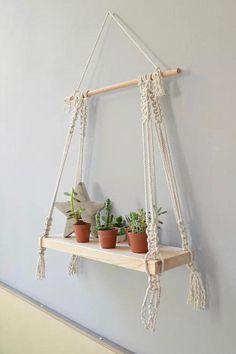 Wall Hanging Shelves, Wooden Wall Shelves, Shelf Wall, Wall Hangings, Wall Wood, Macrame Plant Hangers, Macrame Bag, Macrame Knots, Macrame Mirror