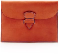 Maison Thomas Medium Leather Promenade Clutch in Cognac and Blue. I simply love these.