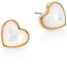 Tory Burch Women S Amore Mother Of Pearl Heart Stud Earrings Ivory 79