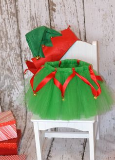 Elf tutu skirt with bells ribbon and hat.