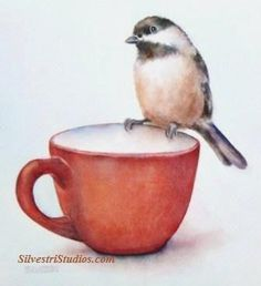 """""""Cup o' Chickadee"""", watercolor chickadee bird on a teacup painting by animal artist Teresa Silvestri.  Original sold, but fine art prints & cards available."""