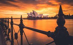 Download wallpapers 4k, Sydney Opera House, cityscapes, sunset, australian landmarks, Sydney, Australia