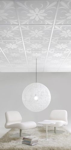 Ceiling Panels by Lisa Bengtsson for Parafon This look can be replicated by digitally printing stretch ceiling membrane from Laqfoil.  http://www.laqfoil.com/