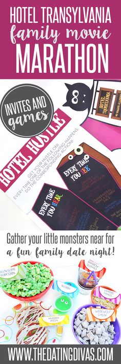 Fun fall or Halloween family movie night- have a Hotel Transylvania Movie Marathon! Downloadable invites and games included! The fun food ideas are my favorite part!