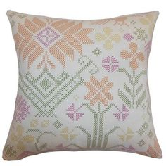 """The Pillow Collection Dori Cross Stitch Cotton Throw Pillow Color: Summer, Size: 22"""" x 22"""""""