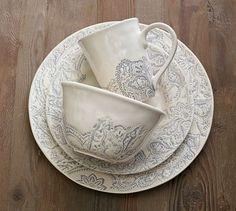 Scarlett Dinner Plate, Set Of 4 - Grey | Pottery Barn