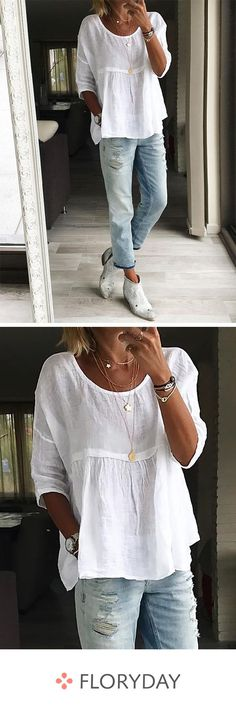 Grote effen mouwen en ronde halsblouses Large solid sleeves and round neck blouses # outfits Women's Fashion Dresses, Boho Fashion, Womens Fashion, Vetement Hippie Chic, Mode Hippie, Casual Outfits, Cute Outfits, Estilo Boho, Ideias Fashion