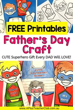 """As a parent I love it when my kids make me a homemade gift at school! Try these Fun and easy craft activities with your kids and make """"Dad"""" happy on Father's Day! These Fathers Day Crafts For Kids to Dad Crafts, Mothers Day Crafts For Kids, Crafts For Kids To Make, Gifts For Kids, My Superhero, Superhero Template, Fathers Day Cards, Happy Fathers Day, Easy Father's Day Gifts"""
