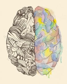 Brain hemispheres print on etsy #brain #hemispheres #neurology #watercolor #neuroscience #psychology #mbti #logic #creativity #tiltedhead