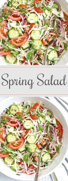 Recipe for Spring Salad. How to make light cabbage salad with cucmbers, tomatoes, and onions.
