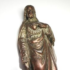 Sacred Heart of Jesus Antique Bronze French Statue Heart Of Jesus, Sacred Heart, Lion Sculpture, Bronze, Statue, French, Antiques, Unique Jewelry, Etsy