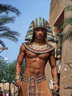 * Enjoy the look on a living person. Ancient Egyptian Clothing, Ancient Egypt Fashion, Egyptian Fashion, Egyptian Art, Asian Male Model, Male Models, Anubis, Universal Studios Singapore, Homo