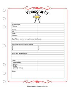 Free wedding coordinators checklist printable free wedding this wedding planner videography checklist helps you keep track of all the details for capturing your junglespirit Gallery