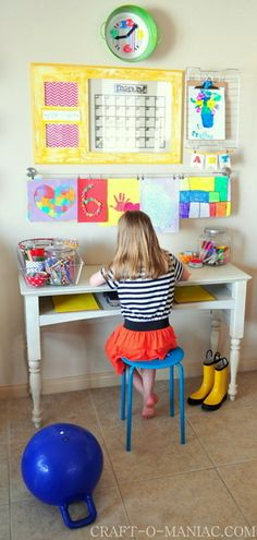 A kid friendly command center - and Art and Homework Station. Great way to teach children organization skills!