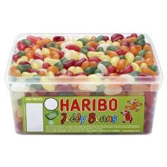 Haribo Traditional Jelly Beans Fruity Full Tub Online Sweetshop, Bags, Tubs, Jars of Sweets Haribo Candy, Haribo Sweets, Jars Of Sweets, Giant Strawberry, Vegetarian Sweets, Jelly Bean Flavors, Rhubarb And Custard, Retro Sweets, Jelly Babies
