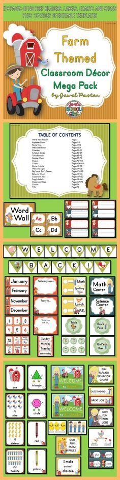 Farm Theme : Farm Theme This Farm Themed Classroom Decor Mega Pack comes with 173 pages of NO PREP HEADERS, LABELS, CHARTS AND SIGNS plus 25 pages of EDITABLE PARTS/TEMPLATES.