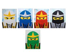A self portrait of the Ninjago Kimono Ninjas Cole, Zane, Kai, Jay and Lloyd on an 8x10 canvas panel. Each ninja portrait is on its own individual 8x10 canvas panel. When its hung side by side, the total width of 5 canvas panel together is 40 inches. Its painted using acrylic paint.
