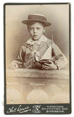 Victorian CDV boy holding model sailboat