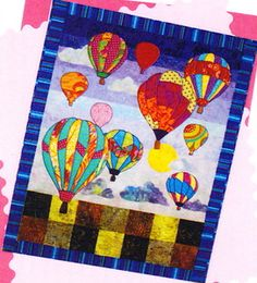Applique Quilt Patterns | Evening Flight - applique & pieced wall quilt PATTERN - hot air ...