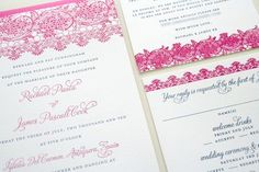 Spanish Lace Wedding Invitation.. but not pink, probably turquoise