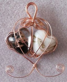 yin yang hearts - wire wrapped