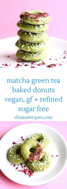 Vegan Matcha Baked Donuts (GF)- These Matcha Green Tea Baked Donuts are vegan, gluten-free, refined sugar free and really easy to make! Source by lumpijewel - Oreo Dessert, Brownie Desserts, Mini Desserts, Coconut Dessert, Matcha Dessert, Birthday Desserts, Plated Desserts, Healthy Vegan Dessert, Cake Vegan