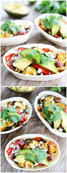 Grilled Avocado and Vegetable Tacos on twopeasandtheirpod.com These tacos are a summer favorite!