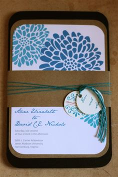 diy chocolate brown and flower invites! :  wedding brown diy invitations teal