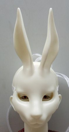Alice in Wonderland Set: BJD Rabbit Mask.  A lot of people think that my BJDs are creepy, but this mask would creep me the hell out.  Hello, Frank from Donnie Darko.  ::shudder::