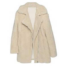 Ivory Shearling Coat ($95) ❤ liked on Polyvore featuring outerwear, coats, casualdress, daydress, ivory coat, pink coat, shearling coat, cropped coat and sheep fur coat