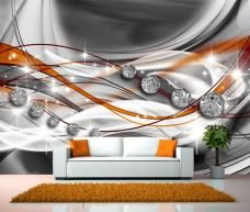 Fototapete Abstrakt Diamant Orange Tapete XXL Wandbild Kleistertapete…