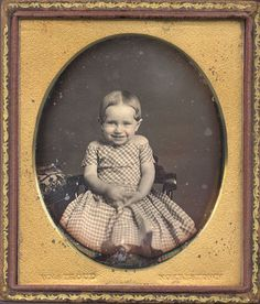 Admit it: you're smiling just looking at this sweetie bean, aren't you? c.1850, [daguerreotype portrait of a young, giggling girl]  via Christopher Wahren Fine Photographs