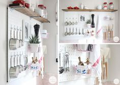DIY Kitchen Peg Board, perfect for not much space and pretty too