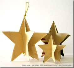 Dimensional Paper Star Craft-very versatile for ornaments, standing stars or garlands. Just paper, glue, and twine. Christmas, July etc. Picture tut at this link. Christmas Activities, Christmas Crafts For Kids, Xmas Crafts, Christmas Projects, Paper Crafts, Paper Glue, Christmas Bulletin Boards, Stars Craft, Diy Projects For Kids