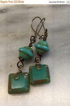 St. Paddys Sale Czech Glass Geometric Earrings   Blue Green Earrings   Boho Earrings   Vintaj Earrings    Square Dangle Earrings Product id: