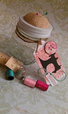 mason jar, sewing kit
