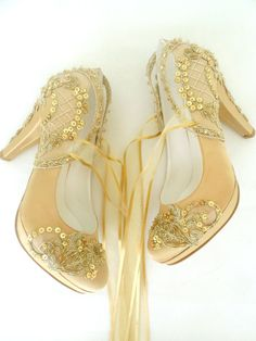 Wedding Shoes - Gold Embroidered Lace Bridal Shoes