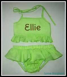 Blanks Boutique girls green embroidery swimsuit with applique example