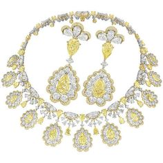 Necklace and earrings in yellow and white diamonds from Red Carpet 2016 collection Yellow Jewelry, Lotus Jewelry, Gems Jewelry, High Jewelry, Modern Jewelry, Jewelry Sets, Jewellery, Real Diamond Necklace, Diamond Jewelry