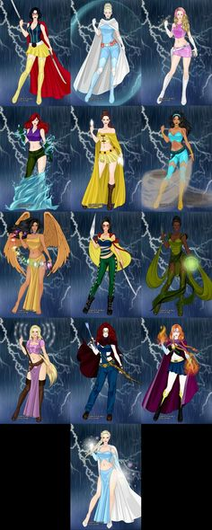 Disney's super heroines From left to right: Snow White, Cinderella, Aurora, Ariel, Belle, Jasmine, Pocahontas, Mulan, Tiana, Rapunzel, Merida, Anna, and Elsa. Made with the new X-Girl game o...